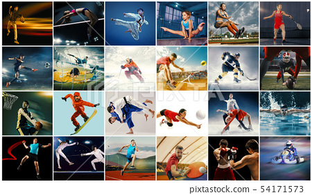 Creative collage made with different kinds of sport 54171573
