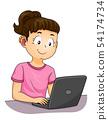 Kid Girl Deaf Hearing Aid Laptop Illustration 54174734