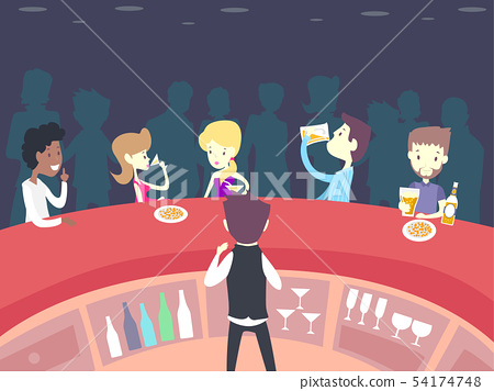 People Drink Pub Waiter View Illustration 54174748
