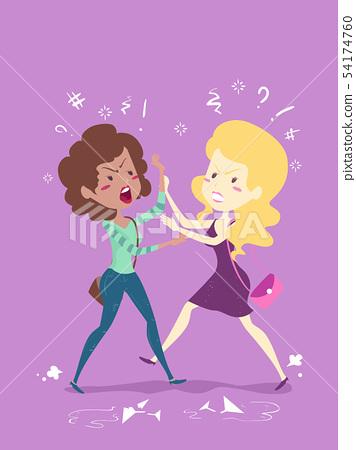 Girls Drunk Physical Fight Illustration 54174760