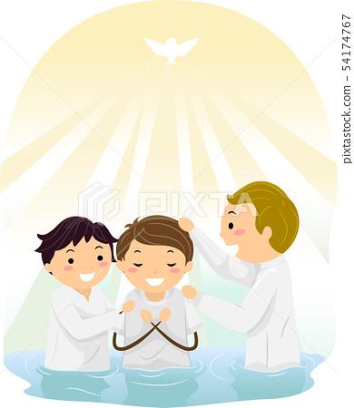 Stickman Baptism River Illustration 54174767