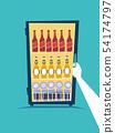 Hand Refrigerator Beers Illustration 54174797