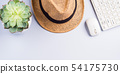 Straw hat, succulent and keyboard on neutral gray 54175730