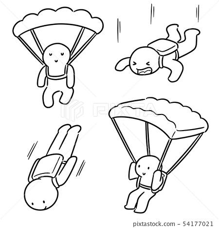 vector set of parachuter 54177021