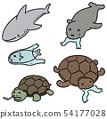 vector set of aquatic animal and plastic 54177028