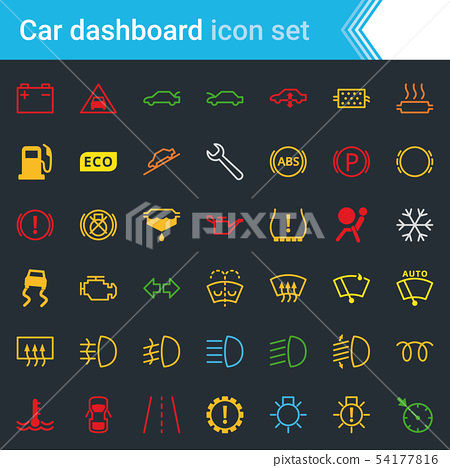 Colorful car dashboard interface and indicators 54177816