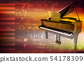 abstract grunge piano background with grand piano 54178309