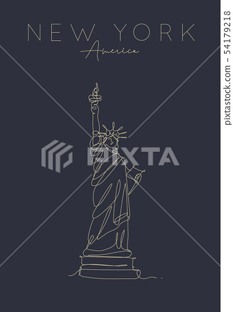 Poster new york statue of liberty dark 54179218