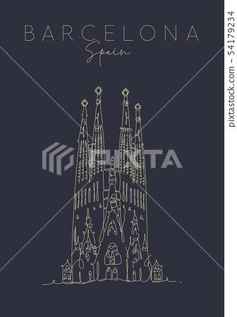 Poster Barcelona Sagrada Familia dark 54179234