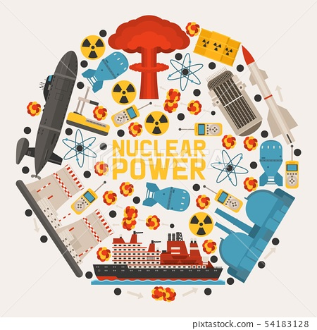 Radioactive, nuclear power plant building, explosion of bomb, atomic icons banner vector 54183128