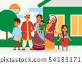 Big happy indian family in national dress vector illustration. Parents, grandmother and children 54183171