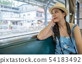 young asian girl traveler looking through window 54183492