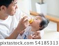 아기 소년 유아 유아 육아 아버지 우유 젖병 수유 54185313