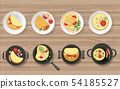 Omelete and ingredients on the wooden table 54185527