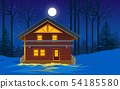wooden house in the forest in winter 54185580