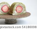 딸기와 녹차 크레페 롤 케이크, 求肥들이 54186098
