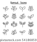 Sprout, treetop, tree, plant icon set in thin line 54186859
