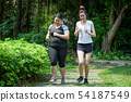 Asian Thin and overweight woman jogging in park, 54187549