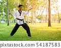 Professional young man taekwondo in summer park , 54187583