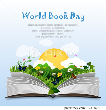 World book day with Open book and green grass 54187669