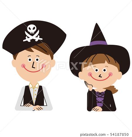 Men and girls in pop halloween costumes 54187850