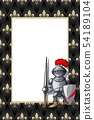 Frame with the knight with pike and shield on the medieval background 54189104