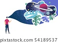 Immersion in Virtual Reality Flat Vector Concept 54189537