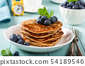 Delicious pancakes with chocolate drops 54189546
