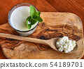 Kefir enriched with some mint leaves 54189701