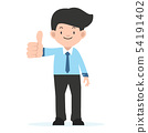 businessman  standing with big thumbs up 54191402