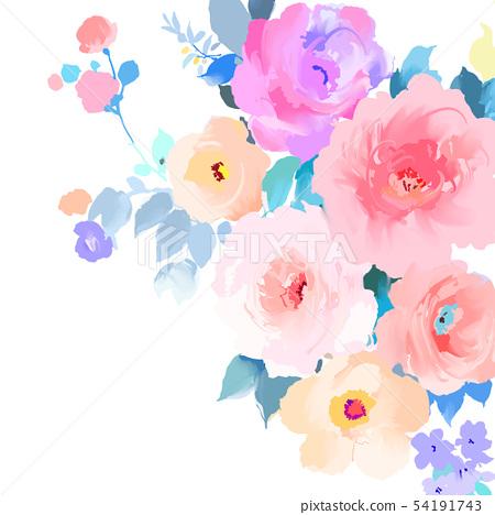 優雅的五顏六色的手繪玫瑰花和牡丹花花卉 54191743