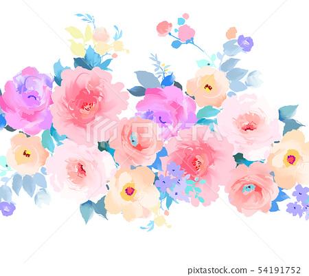 優雅的五顏六色的手繪玫瑰花和牡丹花花卉 54191752