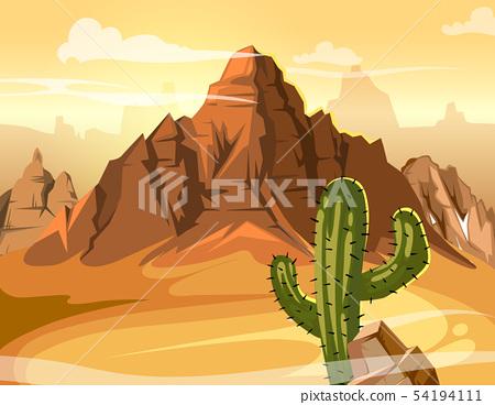 Desert hills, cactus near big mountain. Vector yellow background illustration 54194111