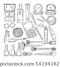 Doodle illustrations of woman cosmetics. Makeup tools for beautiful women 54194162