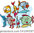 fish animal cartoon characters group 54194587