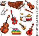 musical instruments cartoon illustration set 54194595