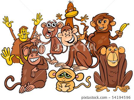 happy monkey cartoon characters group 54194596