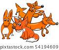 Funny foxes cartoon animal characters 54194609