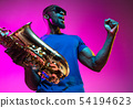 Young african-american jazz musician playing the saxophone 54194623
