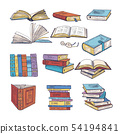 Set of different books. Encyclopedia, dictionary and others. Doodle vectors illustration 54194841