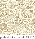 Seamless pattern of traditional italian food, pasta and macaroni. Vector hand drawn illustrations 54194915