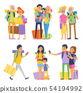Happy family goes to vacation. Mother father and children. Grandmother and grandfather. Vector 54194992