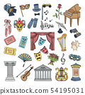 Colored symbols of theatre. Ballet and opera vector icons set isolate 54195031