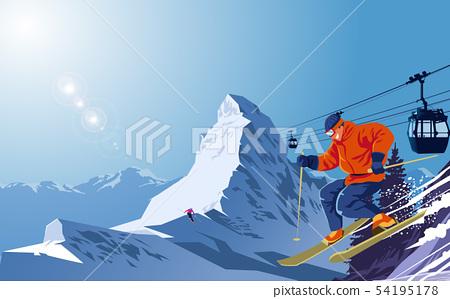 Snow ski on snow mountain 54195178