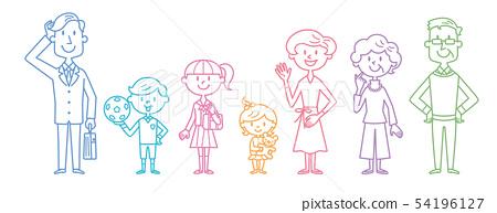 Three generations family outline illustration 54196127