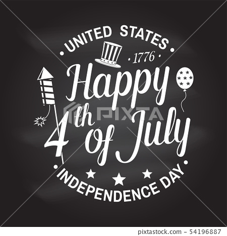 Vintage 4th of july design in retro style. Independence day greeting card. Patriotic banner for 54196887