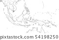 World Map of SOUTHEAST ASIA REGION: Indochina, Thailand, Malaysia, Indonesia, Philippines 54198250