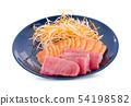 Various Japanese raw fish sashimi , salmon tuna 54198582