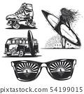 girl with board, sunglasses, car etc. 54199015