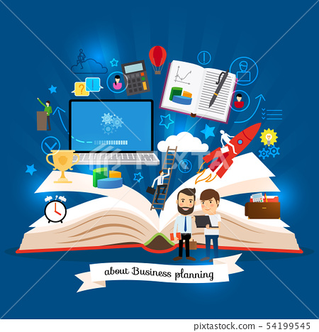 Open book with business strategy concept 54199545